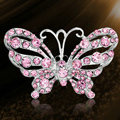 Bling 3D Butterfly Alloy Crystal Rhinestone DIY Phone Case Cover Deco Kit - Pink