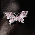 Bling 3D Butterfly Alloy Rhinestone Crystal DIY Phone Case Cover Deco Kit - Pink