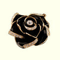 Bling 3D Camellia Flower Alloy Rhinestone Crystal DIY Phone Cover Case Deco Kit - Black