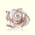 Bling 3D Camellia Flower Alloy Rhinestone Crystal DIY Phone Cover Case Deco Kit - White