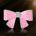 Bling Bowknot Alloy Crystal Rhinestone DIY Phone Case Cover Deco Kit - Pink EB002