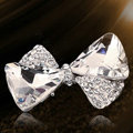 Bling Bowknot Alloy Crystal Rhinestone DIY Phone Case Cover Deco Kit - White EB002