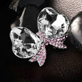 Bling Bowknot Alloy Crystal Rhinestone DIY Phone Case Cover Deco Kit - White+Pink
