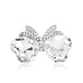 Bling Bowknot Alloy Crystal Rhinestone DIY Phone Case Cover Deco Kit - White