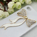 Bling Bowknot Alloy Rhinestone Crystal DIY Phone Case Cover Deco Den Kit - White
