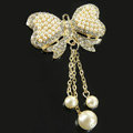 Bling Bowknot Pearl Alloy Crystal Rhinestone DIY Phone Case Cover Deco Den Kit - Gold
