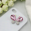 Bling Butterfly Alloy Rhinestone Crystal DIY Phone Case Cover Deco Den Kit - Pink