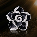 Bling Camellia Flower Alloy Rhinestone Crystal DIY Phone Case Cover Deco Kit - Black
