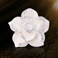 Bling Camellia Flower Alloy Rhinestone Crystal DIY Phone Case Cover Deco Kit - White