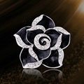 Bling Camellia Flower Alloy Rhinestone Crystal DIY Phone Cover Case Deco Kit - Black
