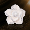 Bling Camellia Flower Alloy Rhinestone Crystal DIY Phone Cover Case Deco Kit - White