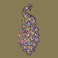 Bling Crystal Peacock Alloy Rhinestone Flatback DIY Phone Case Cover Deco Kit - Color