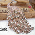 Bling Peacock Alloy Crystal Rhinestone Flatback DIY Phone Case Cover Deco Kit - Gray