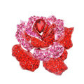 Bling Rose Flower Alloy Rhinestone Crystal DIY Phone Case Cover Deco Kit 75*80mm - Red