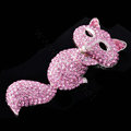 Luxury Bling Fox Alloy Crystal Rhinestone DIY Phone Case Cover Deco Kit - Pink
