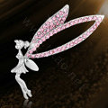 Bling Angel Alloy Crystal Rhinestone DIY Phone Case Cover Deco Kit 60*70mm - Pink