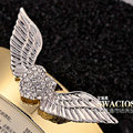 Bling Angel wing Alloy Rhinestone Crystal DIY Phone Case Cover Deco Kit 75*25mm - White