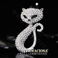 Bling Cat Alloy Crystal Rhinestone DIY Phone Case Cover Deco Kit 80*45mm - White