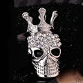 Bling Crown Skull Alloy Crystal Rhinestone DIY Phone Case Cover Deco Kit 51*31mm - White