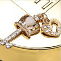 Bling Crown key Alloy Rhinestone Crystal DIY Phone Case Cover Deco Kit 15*35mm - White