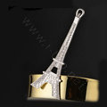 Bling Eiffel Tower Alloy Rhinestone Crystal DIY Phone Case Cover Deco Kit 36*88mm - White