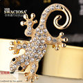 Bling Gecko Alloy Rhinestone Crystal DIY Phone Case Cover Deco Kit 72*45mm - Gold
