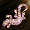 Bling Gecko Alloy Rhinestone Crystal DIY Phone Case Cover Deco Kit 72*45mm - Pink
