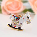 Bling Horse Alloy Rhinestone Crystal DIY Phone Case Cover Deco Kit 48*45mm - White