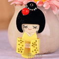 Bling Kimono doll Alloy Rhinestone DIY Phone Case Cover Deco Kit 90*45mm - Yellow