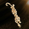 Bling Leopard Alloy Rhinestone Crystal DIY Phone Case Cover Deco Kit 83*25mm - Gold