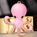Bling Octopus Alloy Crystal Rhinestone DIY Phone Case Cover Deco Kit - Pink