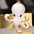 Bling Octopus Alloy Crystal Rhinestone DIY Phone Case Cover Deco Kit - White