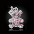 Bling Panda Alloy Crystal Rhinestone DIY Phone Case Cover Deco Kit 34*64mm - Pink