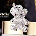 Bling Panda Alloy Crystal Rhinestone DIY Phone Case Cover Deco Kit 34*64mm - White