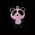 Bling Panda Alloy Crystal Rhinestone DIY Phone Case Cover Deco Kit 37*48mm - Pink