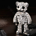 Bling Panda Alloy Crystal Rhinestone DIY Phone Case Cover Deco Kit 69*34mm - White