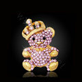 Bling Panda Alloy Rhinestone Crystal DIY Phone Case Cover Deco Kit 34*64mm - Pink