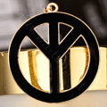 Bling Peace marked Alloy Crystal Pendant DIY Phone Case Cover Deco Kit 47mm - Black