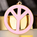 Bling Peace marked Alloy Crystal Pendant DIY Phone Case Cover Deco Kit 47mm - Pink