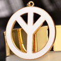 Bling Peace marked Alloy Crystal Pendant DIY Phone Case Cover Deco Kit 47mm - White
