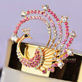 Bling Phoenix Alloy Crystal Rhinestone DIY Phone Case Cover Deco Kit 45*44mm - Pink