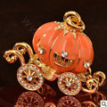 Bling Pumpkin car Alloy Rhinestone Crystal DIY Phone Case Cover Deco Kit 55*45mm - Orange
