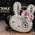 Bling Rabbit Alloy Crystal Rhinestone DIY Phone Case Cover Deco Kit 45*38mm - White