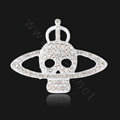 Bling Saturn Skull Alloy Rhinestone Crystal DIY Phone Case Cover Deco Kit - White