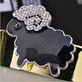 Bling Sheep Alloy Crystal Rhinestone DIY Phone Case Cover Deco Kit - Black