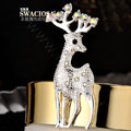Bling Sika deer Alloy Crystal Rhinestone DIY Phone Case Cover Deco Kit 28*65mm - White