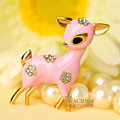Bling Sika deer Alloy Crystal Rhinestone DIY Phone Case Cover Deco Kit 40*35mm - Pink