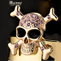 Bling Skull Alloy Crystal Rhinestone DIY Phone Case Cover Deco Kit 30mm - Gold