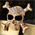 Bling Skull Alloy Rhinestone Crystal DIY Phone Case Cover Deco Kit 30mm - Gold