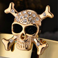 Bling Skull Alloy Rhinestone Crystal DIY Phone Case Cover Deco Kit 55mm - Gold
